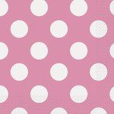 "Polka Dot Party Napkins, 6.5"" x 6.5"", Hot Pink, 16 Count"