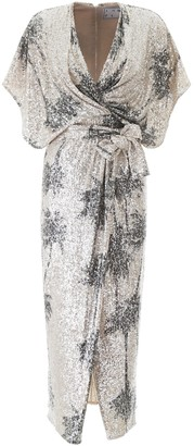 In The Mood For Love ANCENS SEQUINED DRESS WITH PALM TREES S Silver, Black