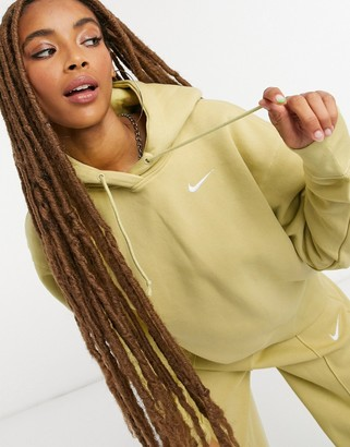 Nike mini swoosh oversized hoodie in olive green
