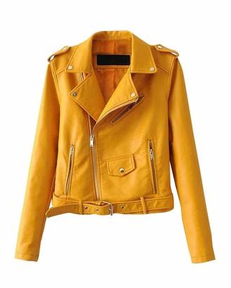 Okwin Jackets for Women Autumn Winter Blazers Zippered Jacket Casual PU Leather Short Jackets Yellow