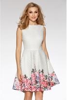 Quiz Cream And Pink Flower Print Hem Skater Dress