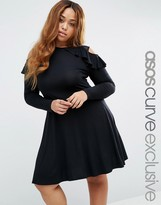 Asos Long Sleeve Cold Shoulder Skater Dress With Mesh & Ruffle Detail