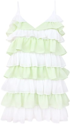 Blonde Gone Rogue Summer Affair Mini Dress In White & Green