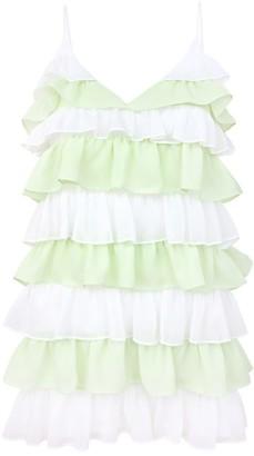 Blonde Gone Rogue Sustainable Summer Affair Mini Dress - White & Green