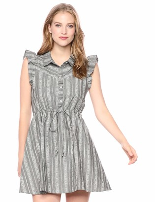 BCBGeneration Women's Striped Angel Wing Shirt Dress Grey S