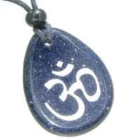 BestAmulets Lucky Om Symbol Wish Stone Blue Goldstone Gemstone Pendant Necklace