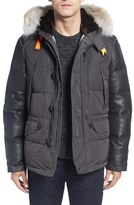 Parajumpers Men's 'D-Hole' Leather Sleeve Down Coat With Faux Fur And Genuine Coyote Fur Trim