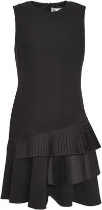 Victoria Victoria Beckham Flared Pleated Satin-paneled Crepe Mini Dress