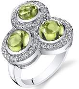 Ice 3.00 carats Peridot Trinity Ring Sterling Silver
