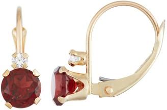 10k Gold Round-Cut Garnet & White Zircon Leverback Earrings