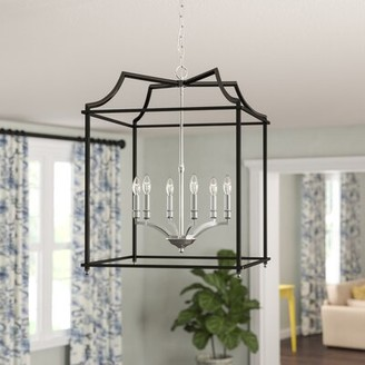 Bartley 6 - Light Lantern Geometric Pendant Darby Home Co Finish: Pewter with Black