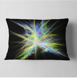 """Chaos Designart Yellow Blue Multicolored Rays Abstract Throw Pillow - 12"""" X 20"""""""