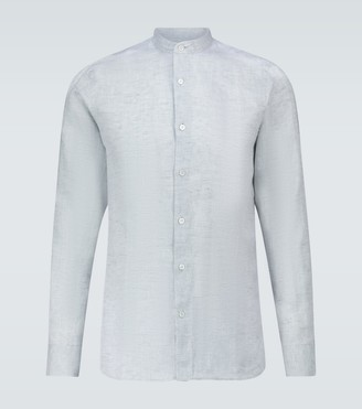 Frescobol Carioca Band-collar linen shirt