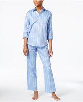 Lauren Ralph Lauren Petite Three-Quarter-Sleeve Top and Pants Printed Cotton Pajama Set