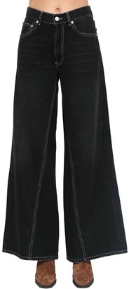 Ganni Wide Leg Cotton Denim Pants