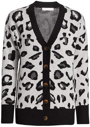 Design History Leopard Jacquard Cardigan