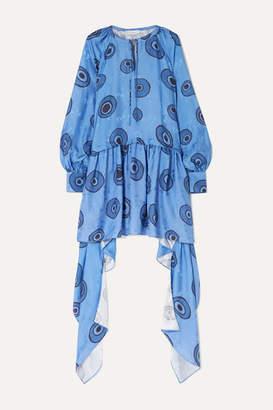 J.W.Anderson Asymmetric Printed Satin-jacquard Dress - Blue