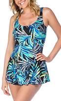 Maxine Of Hollywood Women's Jungle Night Swim Dress One Piece Swimsuit