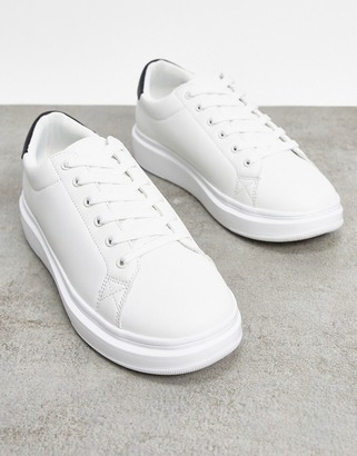 ASOS DESIGN trainers with chunky sole and contrast heel in white