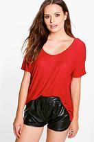 Boohoo Nina V Neck Ribbed T-Shirt