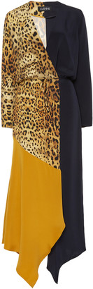 Cushnie Asymmetric Color-Block Silk-Georgette Midi Dress