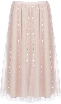 RED Valentino Floral Tulle Midi Skirt