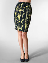 The Pencil Skirt Net Embroidery in Yellow and Black