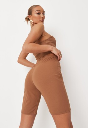Missguided Camel Bandeau Top And Cycling Shorts Co Ord Set