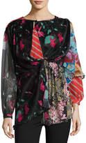 Balenciaga Patchwork Long-Sleeve Cape-Back Blouse