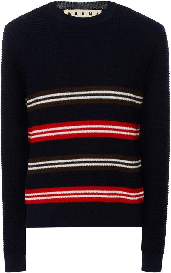 Marni Striped Waffle-Knit Wool And Cotton-Blend Shirt