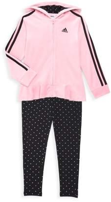 adidas Baby Girl's Two-Piece Hooded Velour Jacket & Leggings Set