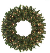 Asstd National Brand 8 Ft. Pre-Lit Commercial Size Canadian Pine Artificial Christmas Wreath with Clear Lights