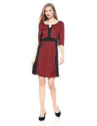 Star Vixen Women's Classic Elbow-Sleeve Blk Outline Newslady Dress