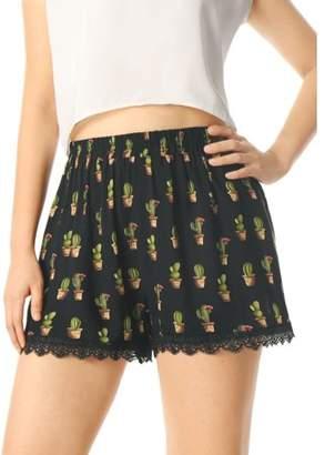 Unique Bargains Women's Printed Lace Trip Elastic Waistband Summer Shorts