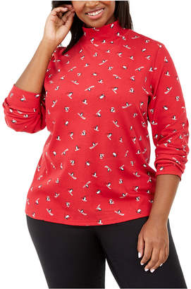 Karen Scott Plus Size Skiing Penguins Printed Mock-Neck Top