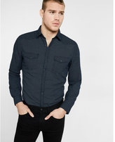 Express micro print snap front going out shirt