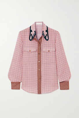 Chloé Checked Silk-crepe Shirt - Baby pink