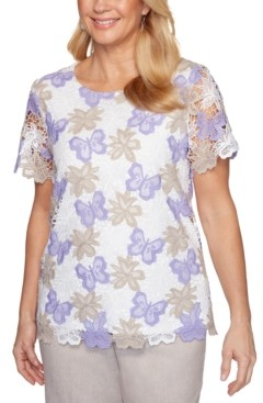 Alfred Dunner Nantucket Printed Lace Woven Top