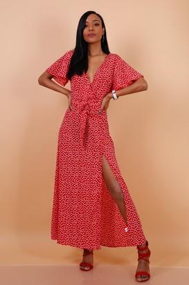 Lilura London Wrap Front Split Leg Maxi Dress In Red Daisy Dot Print