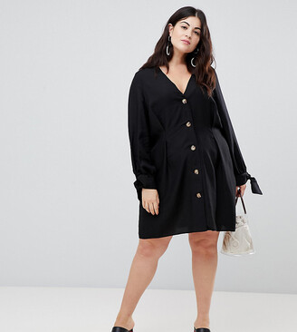 ASOS DESIGN Curve button through mini skater dress with tie sleeves