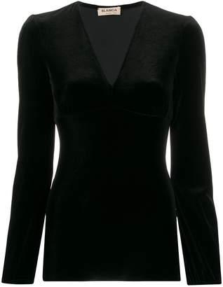 Blanca V-neck velvet top
