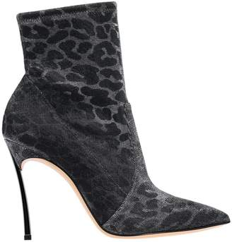 Casadei Blade Leo Ankle Boots In Animal-effect Metallized Fabric