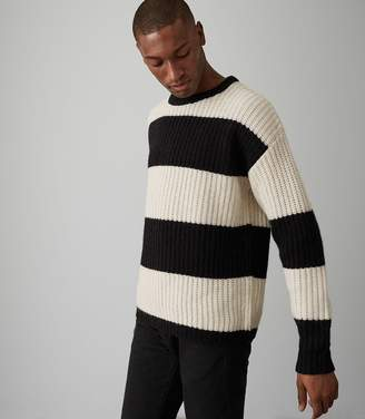 Reiss ROCKY BLOCK STRIPE JUMPER Black/white