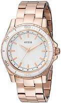 GUESS Women's U0557L2 Stainless Steel Rose Gold-Tone Mid-Size Watch with White Top Ring