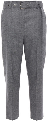Brunello Cucinelli Cropped Belted Houndstooth Wool Tapered Pants