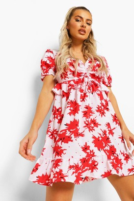boohoo Ruched Bust Frill Detail Mini Tea Dress