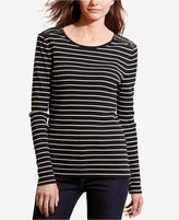 Lauren Ralph Lauren Striped Faux-Leather-Trim Top