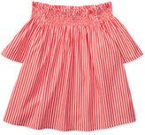 Ralph Lauren Bengal Stripe Off-The-Shoulder Cotton Top, Big Girls (7-16)