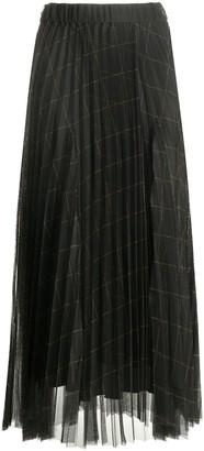 Brunello Cucinelli Checkered Tulle Pleated Skirt