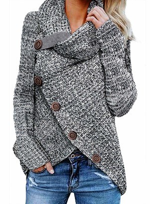 CORAFRITZ Women's Winter Sweater Chunky Knit Jumper Casual Loose Long Sleeve Solid Color Hem Split Buttoned Wrap Sweater Gray